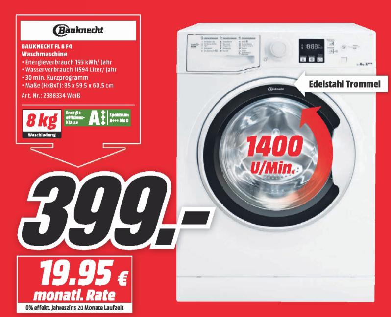 BAUKNECHT FL 8F4 Waschmaschine [Lokal MediaMarkt Wuppertal]