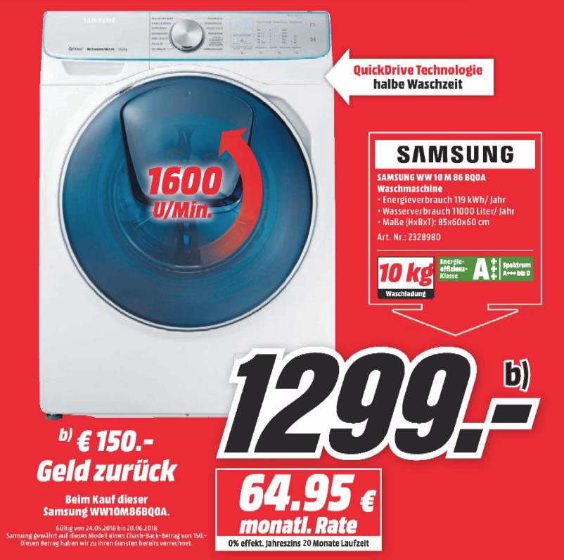 SAMSUNG QuickDrive WW10M86BQOA/EG Waschmaschine [Lokal MediaMarkt Wuppertal]