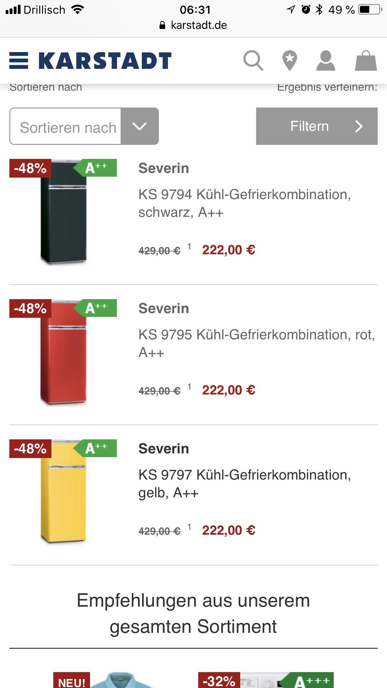 Karstadt Severin Kühlschrank KS 9795 9794 9797