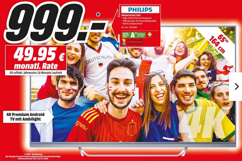 [Köln- Mediamarkt] Philips 65PUS7502 65''-UHD-TV mit 100Hz nativ, 10Bit-Panel, 3seitigem Ambilight und HDR10 für 999€