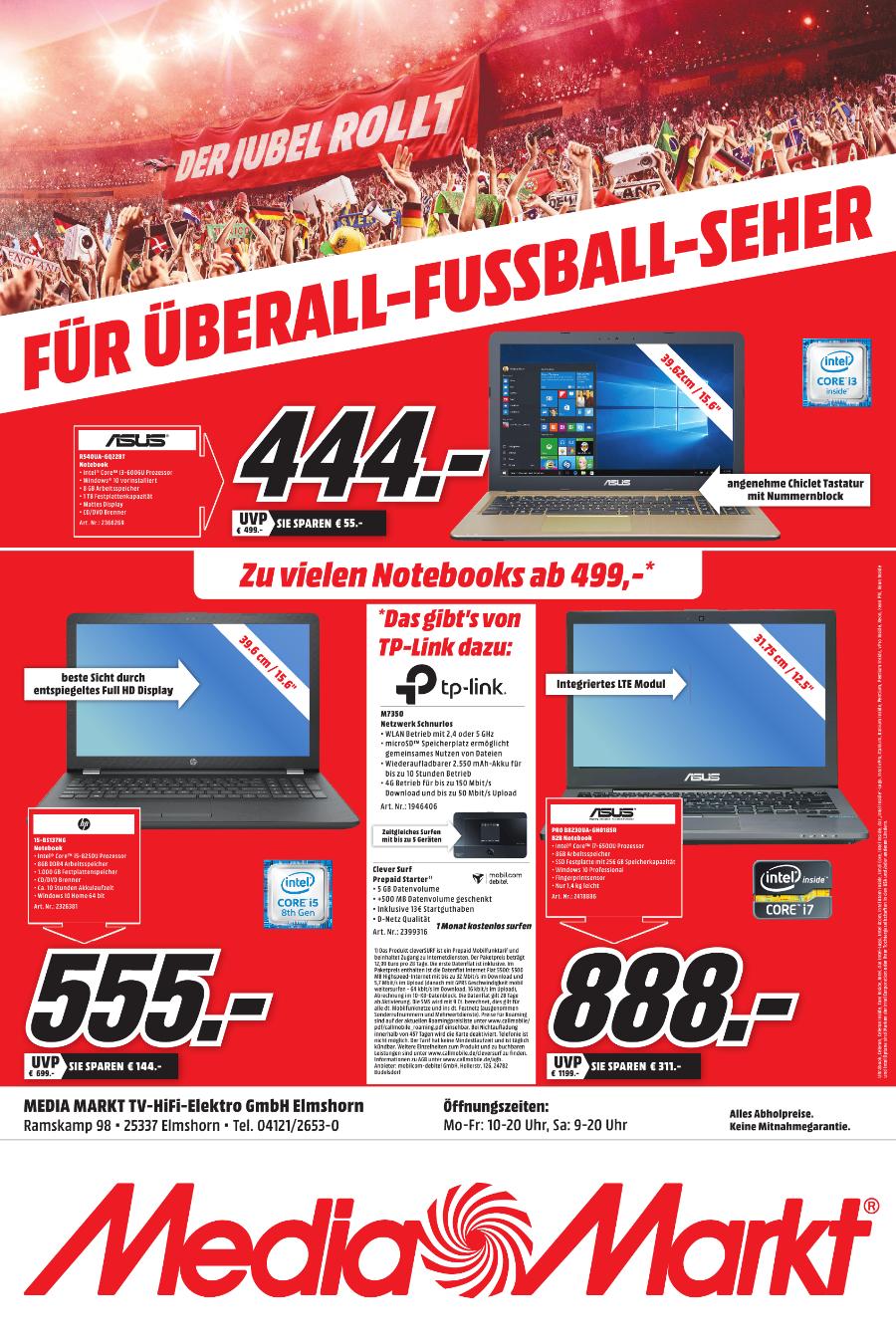Lokal Mediamarkt Elmshorn Notebook ab 499 - LTE Router geschenkt und mehr