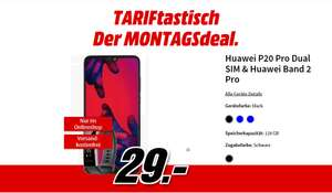 Huawei P20 Pro Dual SIM + Huawei Band 2 Pro, einmalig 29€ und 31,99 Mtl. 4GB Vodafone!