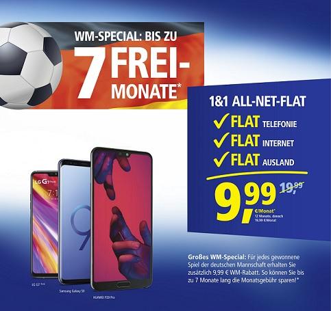 1&1 All-Net-Flat WM-Special: 9,99€ WM-Rabatt pro Sieg der Deutschen Mannschaft