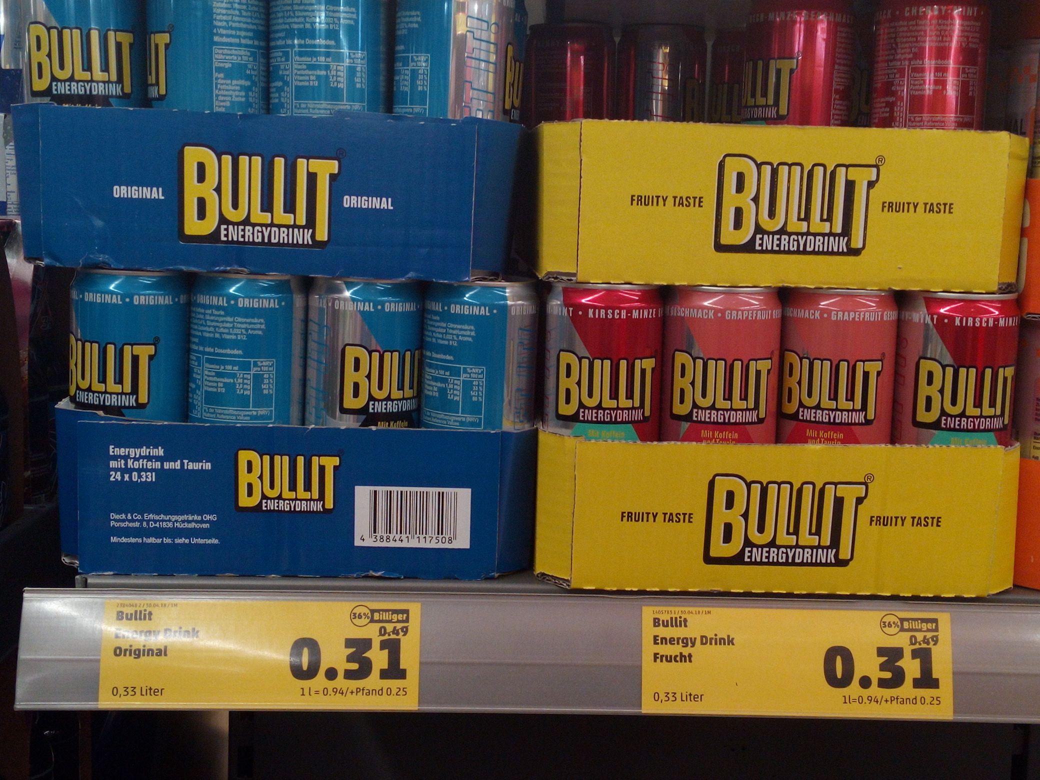 Bullit Energy Drink  0,33l ist für 0,31€ penny liebenburg (gegebenfalls bundesweit)