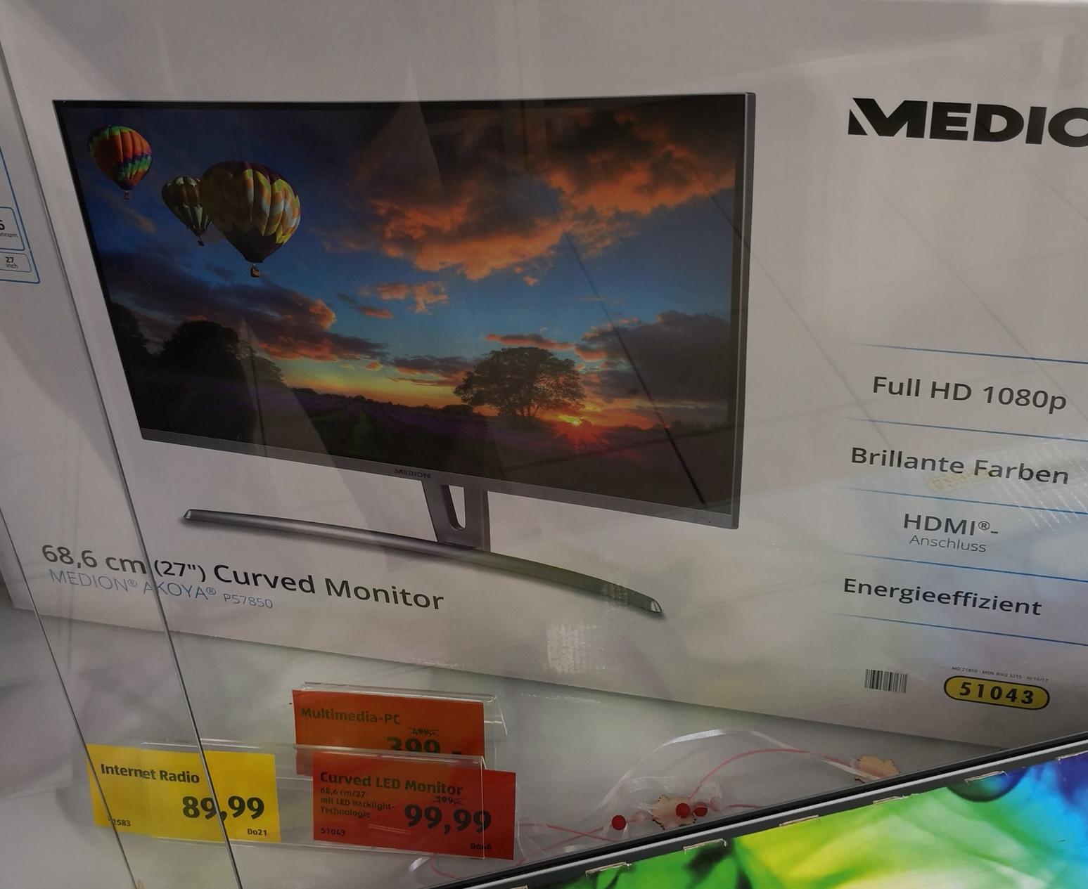 "Medion Akoya (27"") Curved Monitor - Full HD - P57850 - Evtl. nur lokal!"