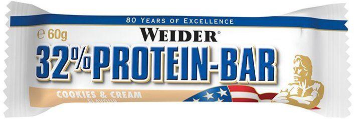 (Vorbestellen) Weider Proteinriegel 32% Protein bar, Cookies & Cream, 24x60 g  (Amazon Prime)