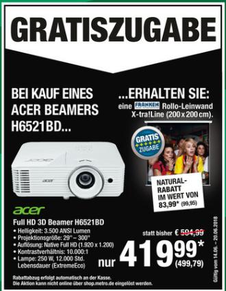 [Metro] Acer H6521BD Beamer - WUXGA Full HD, 3.500 ANSI Lumen, 10.000:1 Kontrast, DLP, 3D, HDMI + Rollo-Leinwand 200x200 im Wert von 100€ gratis