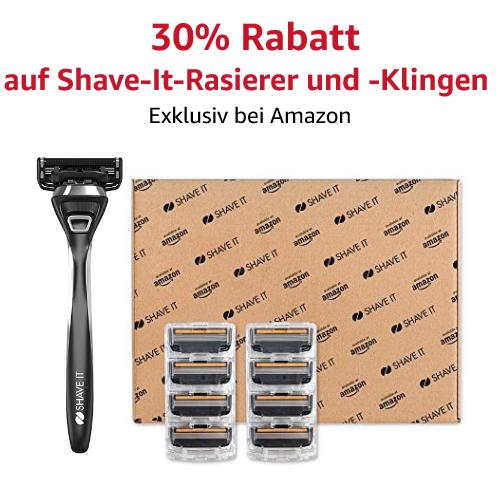 30% Rabatt auf Shave It-Rasierer und Klingen