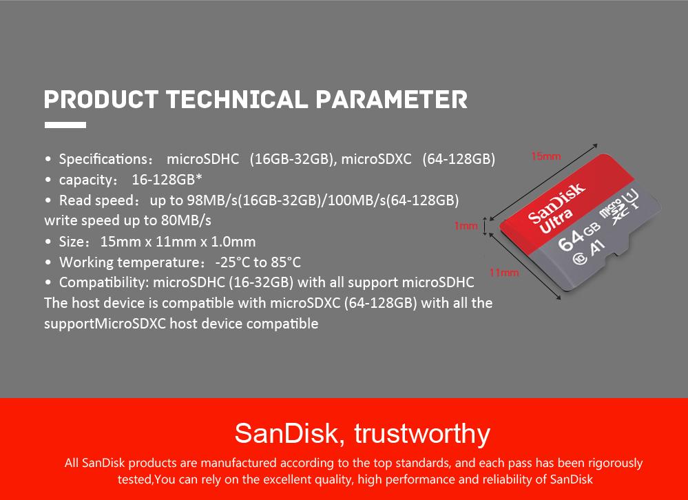 Sandisk Ultra microSD A1 mit 32GB f¨¹r 8,39€ / 64GB f¨¹r 14,16€ / 128GB f¨¹r 27,01€ & Kostenloser Versand