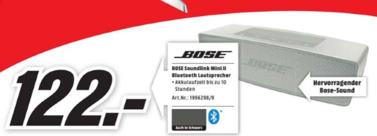 [Regional Mediamarkt Wiesbaden] BOSE SoundLink Mini Bluetooth speaker II, Bluetooth Lautsprecher in 2 Farben für je 122,-€