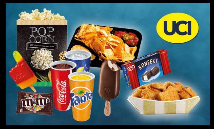 Wertgutschein für Snacks und Drinks in allen UCI Kinos