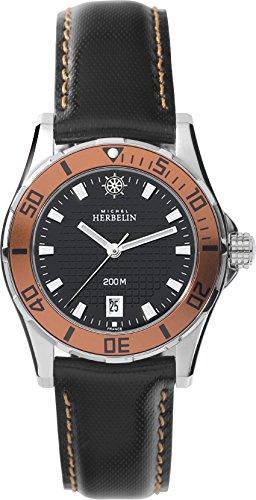 Michel Herbelin Damen-Armbanduhr Newport Trophy Quarz Leder 14290/AO14 NP über 500,- €