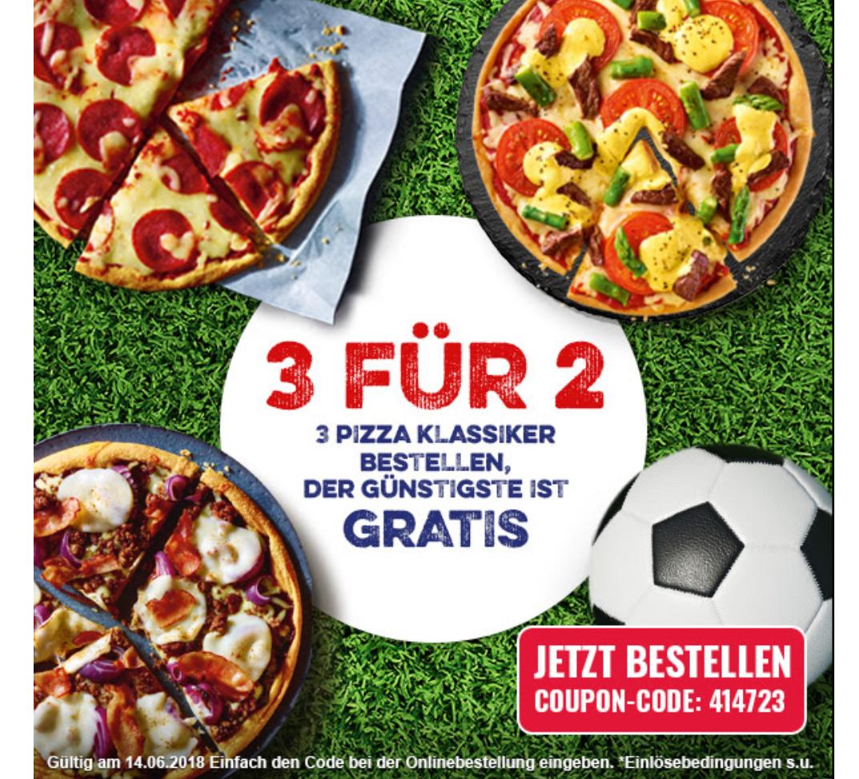 3 für 2 | Die günstigste Pizza kostenlos | Dominos