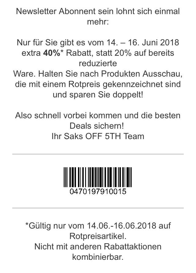 Saks OFF 5TH Regional 40% auf Rotpreisartikel