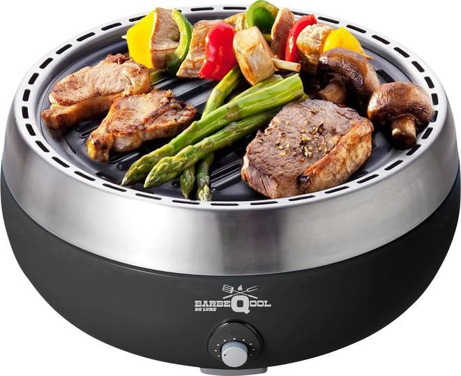 [Digitalo] BarbeQool Holzkohle, Tisch Grill mit Aktivbelüftung schnurlos Grill-Fläche (Durchmesser)=450mm Schwarz, Silber