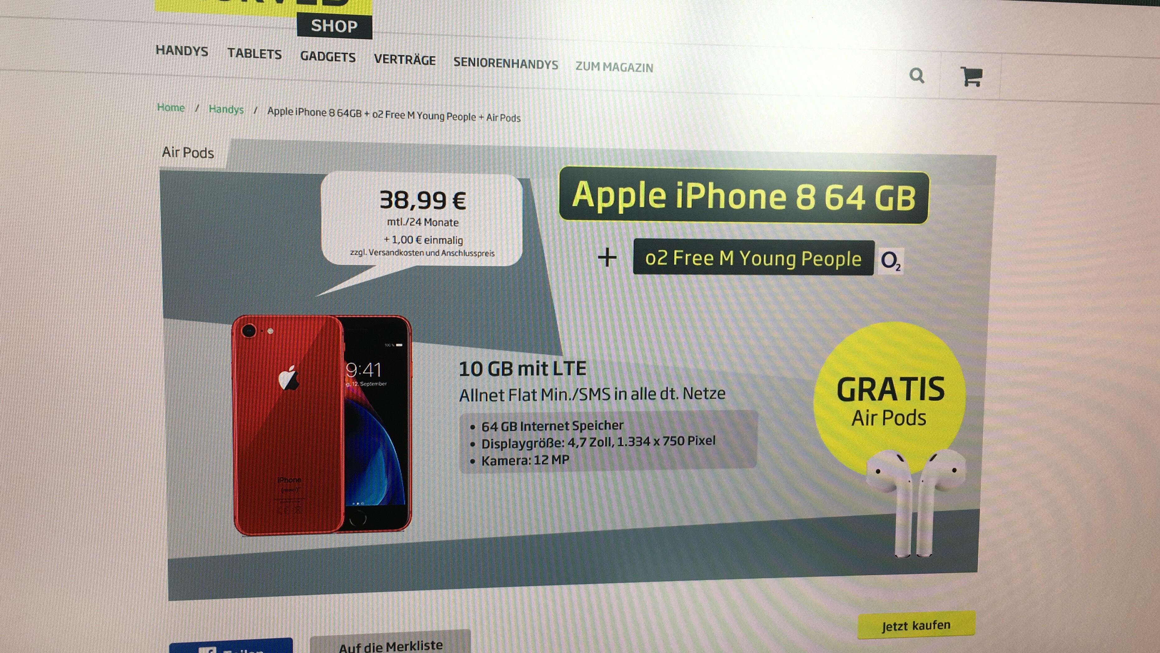 iPhone 8 (auch red) mit Airpods und 10 GB Flat bei o2 Free Young M für 38,99€ / Monat