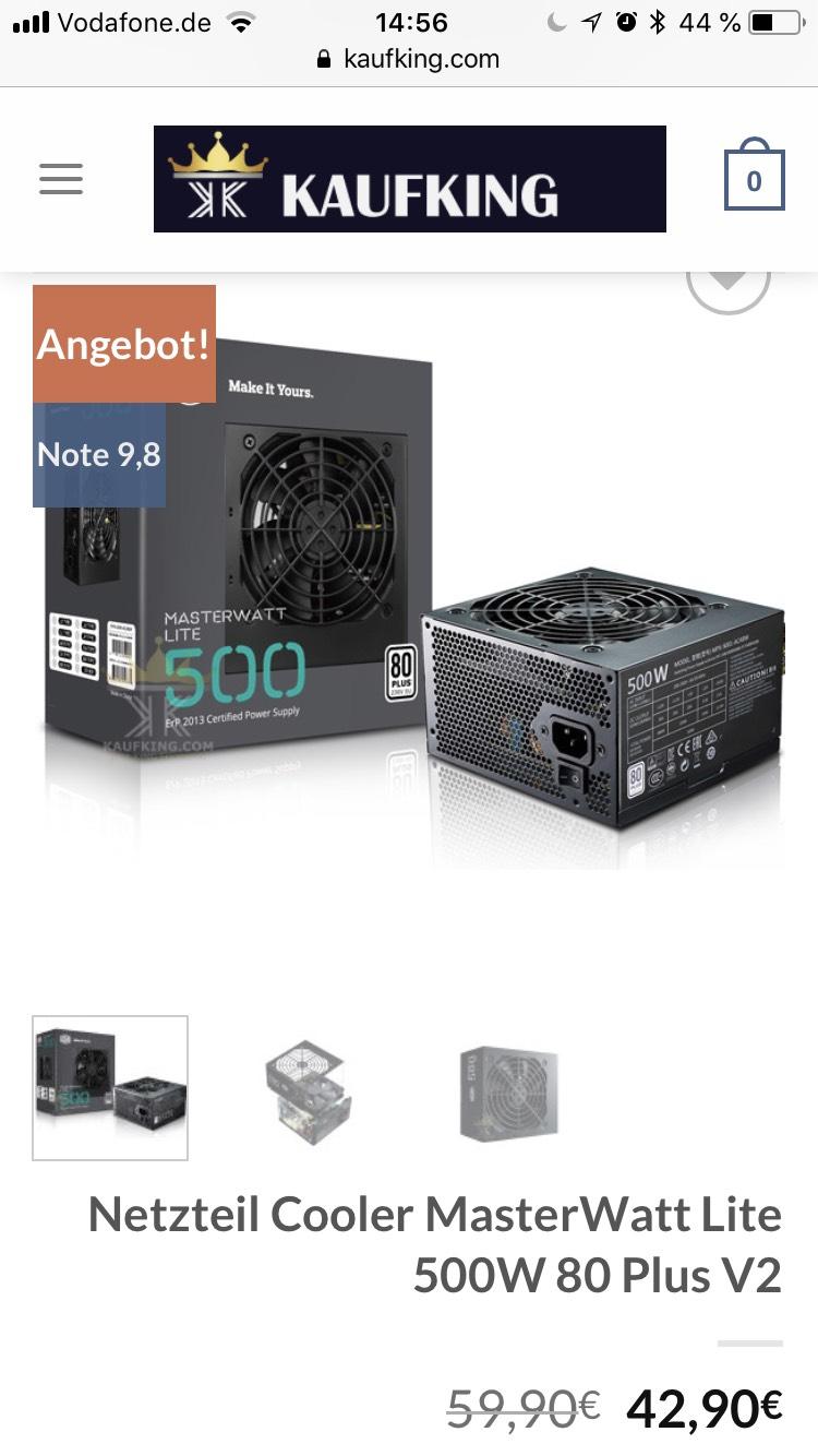 Netzteil Cooler MasterWatt Lite 500W 80 Plus V2