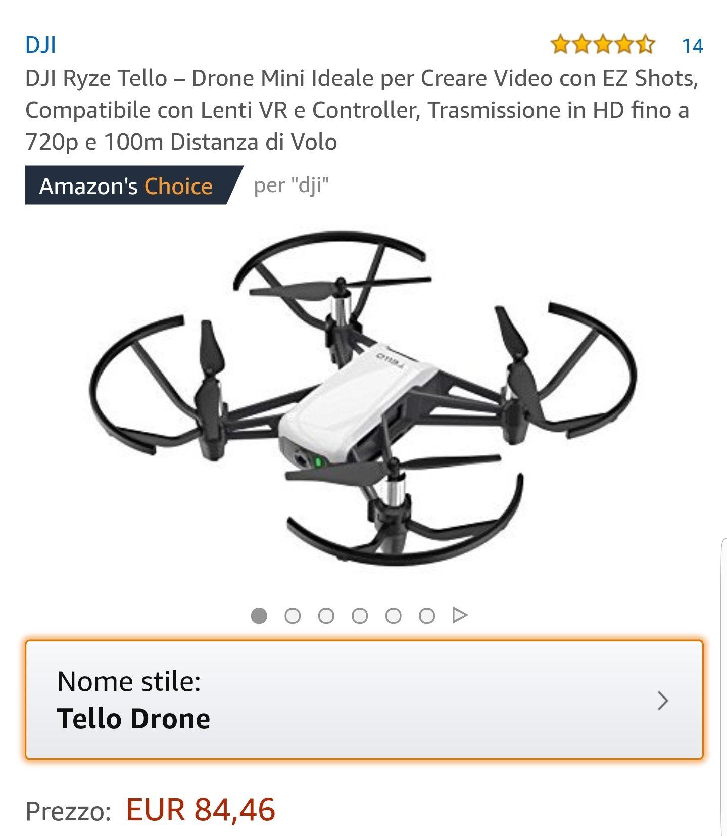 Ryze Tello, Dji Parts, Drohne, Amazon Italien, Akku 22 Euro
