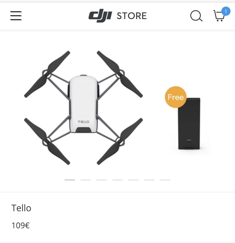 Ryze Tello+Zusatzakku für 98,10 bei DJI Deutschland(mit Studentenrabatt)
