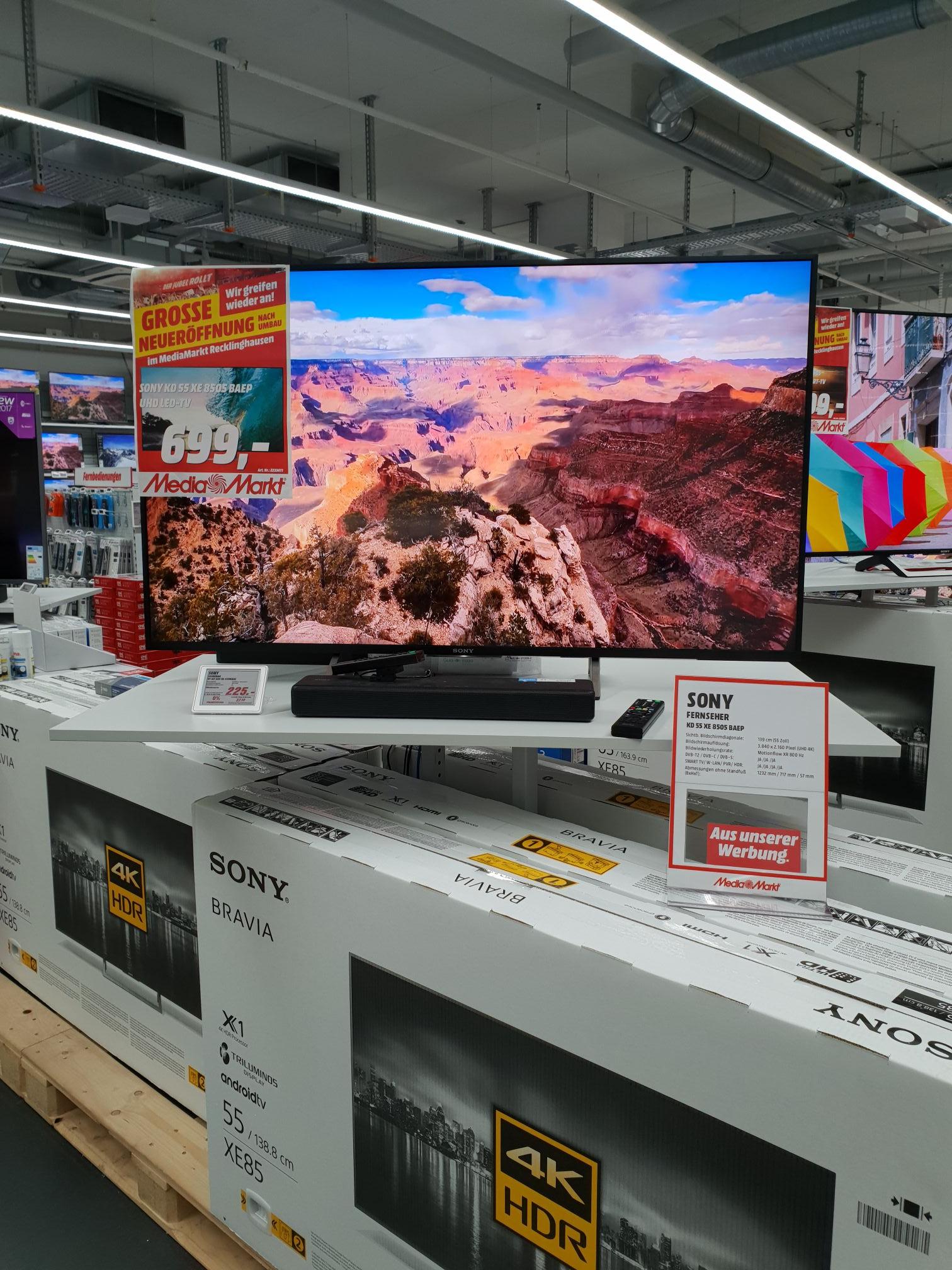 Sony KD-55XE8505 Media Markt Recklinghausen Lokal Große Neueröffnung