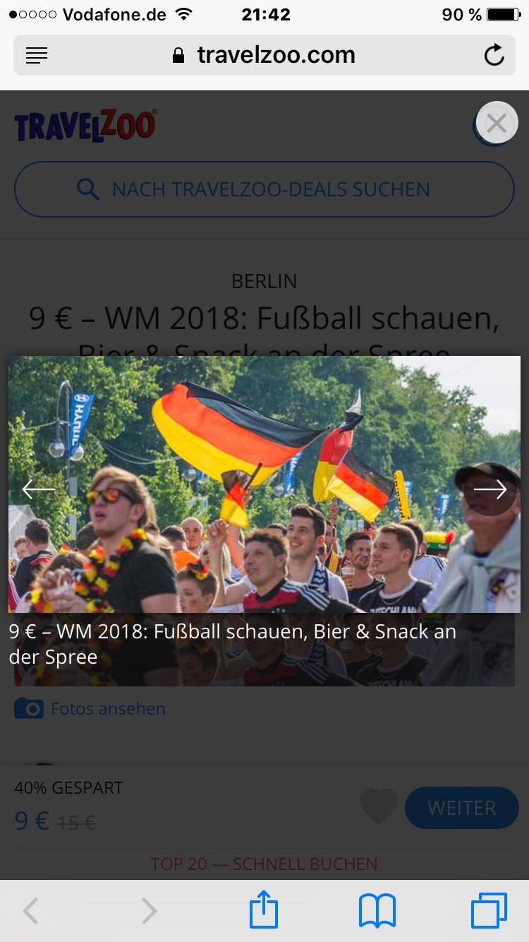 9 € – WM 2018: Fußball schauen, Bier & Snack an der Spree