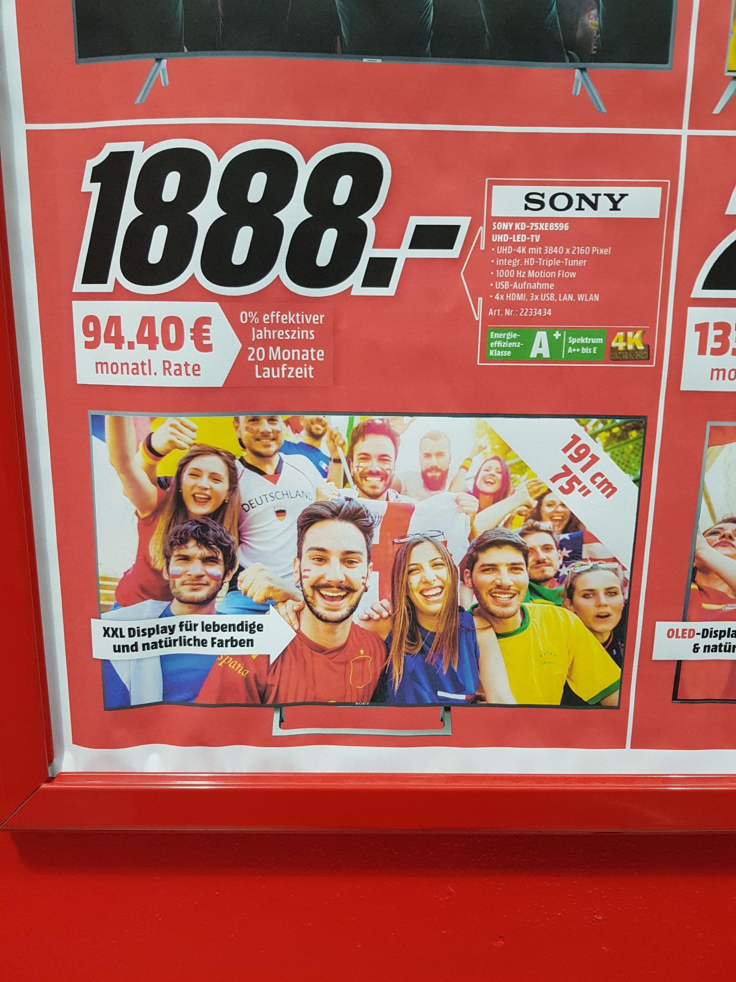 LOKAL Weiterstadt Mediamarkt Sony 75xe8596 für 1888€