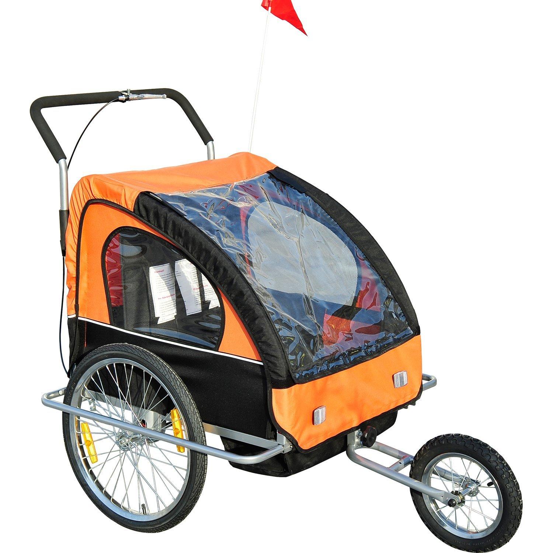 [Rakuten] HomCom 2 in 1 Jogger Fahrradanhänger mit Hinterachsenfederung in Orange-Schwarz für 88,11€