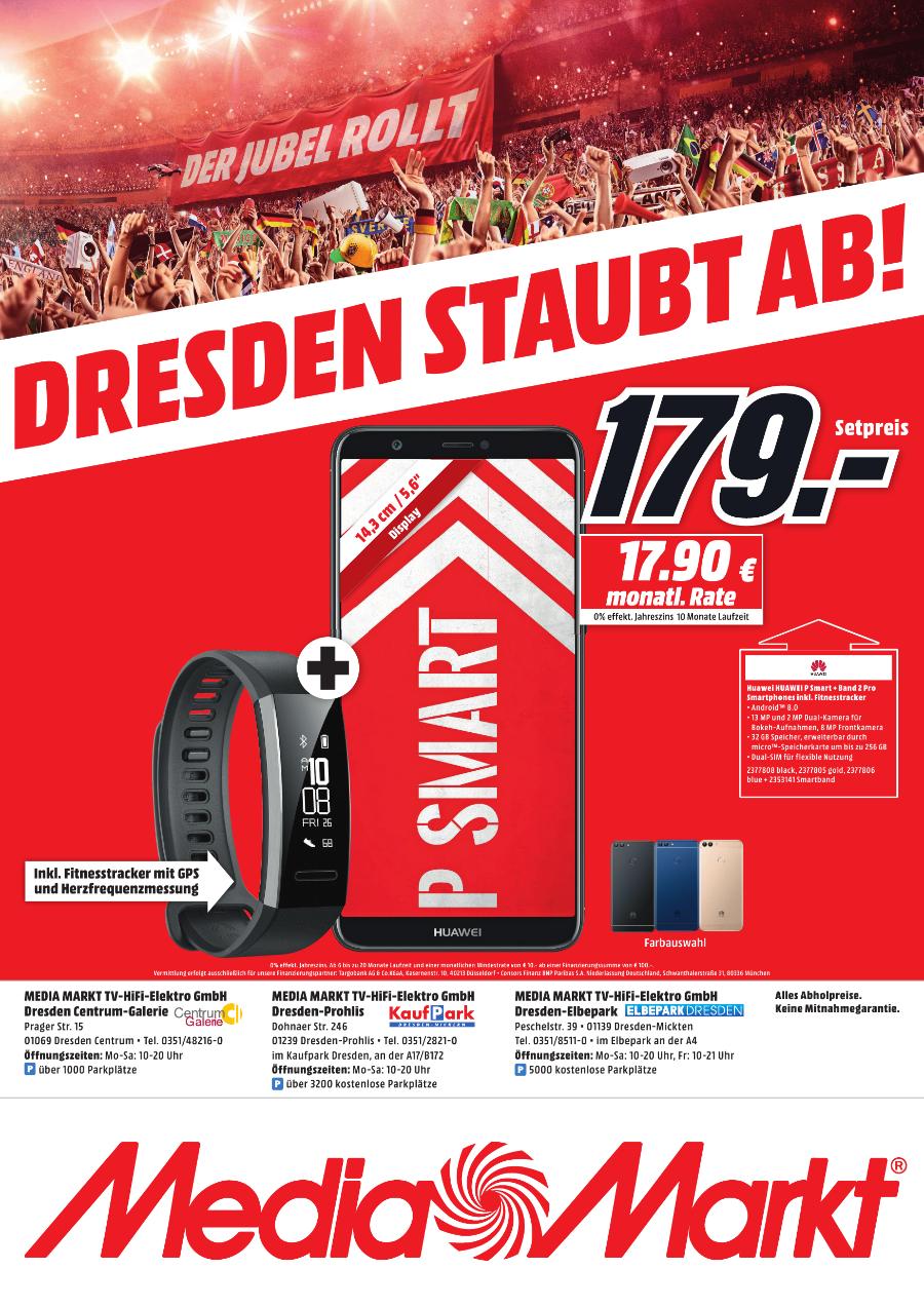 [Regional Mediamarkt Dresden] HUAWEI P smart Dual-SIM Smartphone (14,35 cm (5,6 Zoll) FullView Display, 13 MP Dual-Kamera, 32 GB interner Speicher, Android 8.0) Schwarz + HUAWEI Band 2 Pro Fitness-Tracker  schwarz für 179,-€