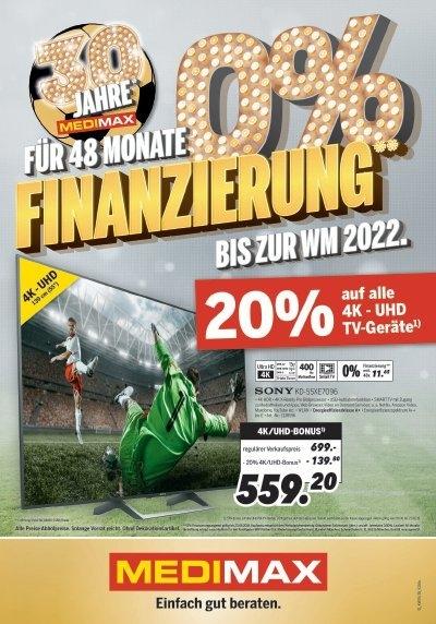 [Lokal Medimax NRW] 20% auf alle UHD/4K Fernseher Bsp. Philips 65OLED973