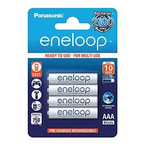 Panasonic eneloop, Ready-to-Use Ni-MH Akku, AAA Micro, 4er Pack, min. 750 mAh, 2100 Ladezyklen