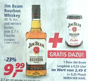 Jim Beam Bourbon Whiskey 0,7l im Angebot plus eine Dose Jim Beam Cola 0,33l gratis dazu