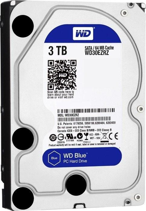 Western Digital WD Blue 3TB, SATA 6Gb/s (WD30EZRZ) interne HDD (20,62€/TB) (recertified!!!)