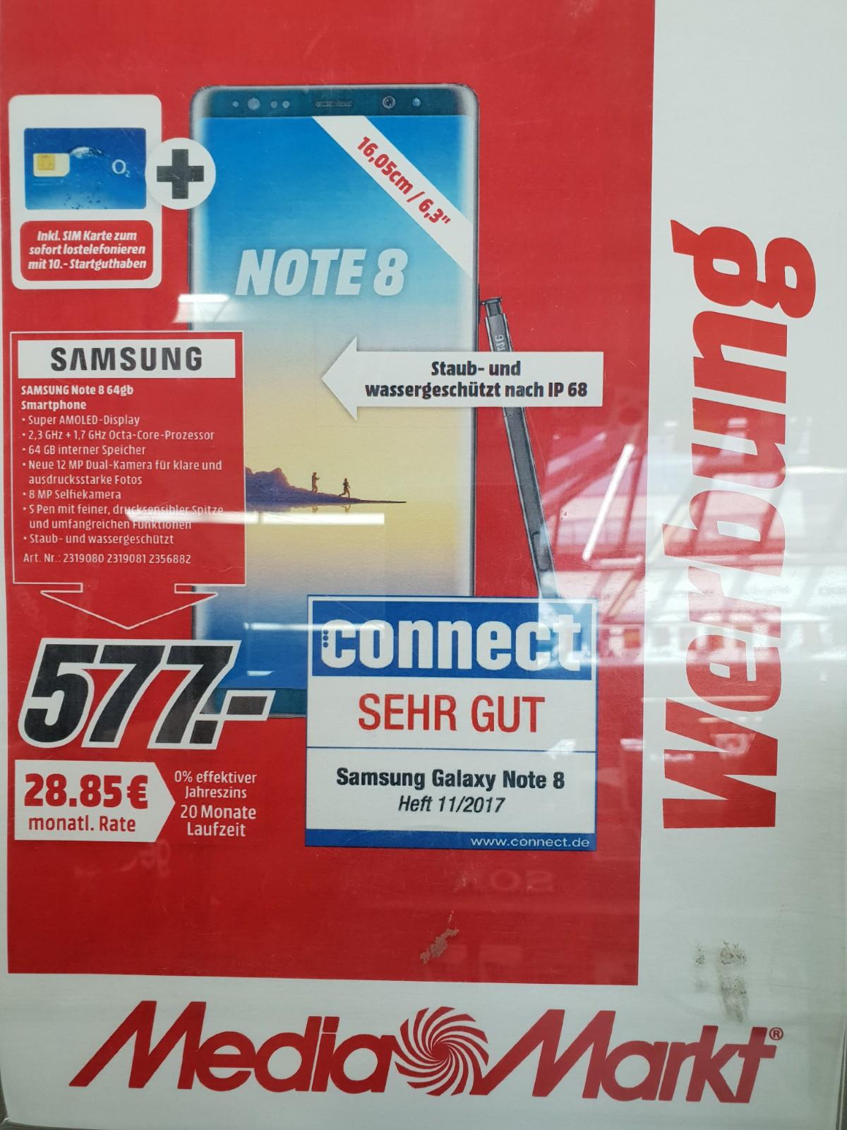 [Lokal MediaMarkt HD Hebelstr.] Samsung Galaxy Note 8 (Maple Gold) für 467 Euro [SM-N950F Note8] - durch die Samsung/MM-Aktion noch günstiger geworden
