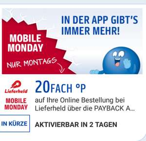 20 Fach Playback Punkte bei Lieferheld.de am Mobile Monday [Payback App]