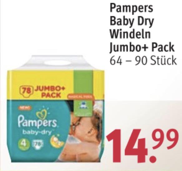 Pampers Jumbo+Pack 9,89€ bei Rossmann mit Coupon und App (noch bis Fr. 22.6.)