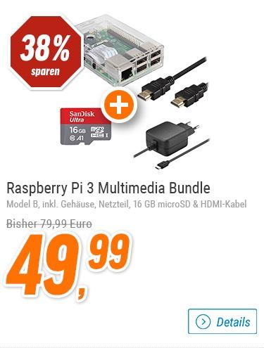 (Notebooksbilliger) Raspberry Pi 3 (B) + Gehäuse + Netzteil + HDMI Kabel + 16GB Karte