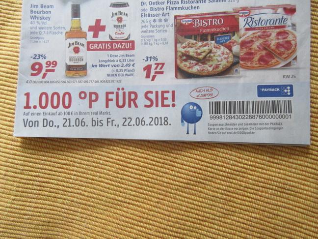 REAL - aktuelle Werbung 1000 Payback Punkte ab 100 Euro von 21.06 bis 22.06