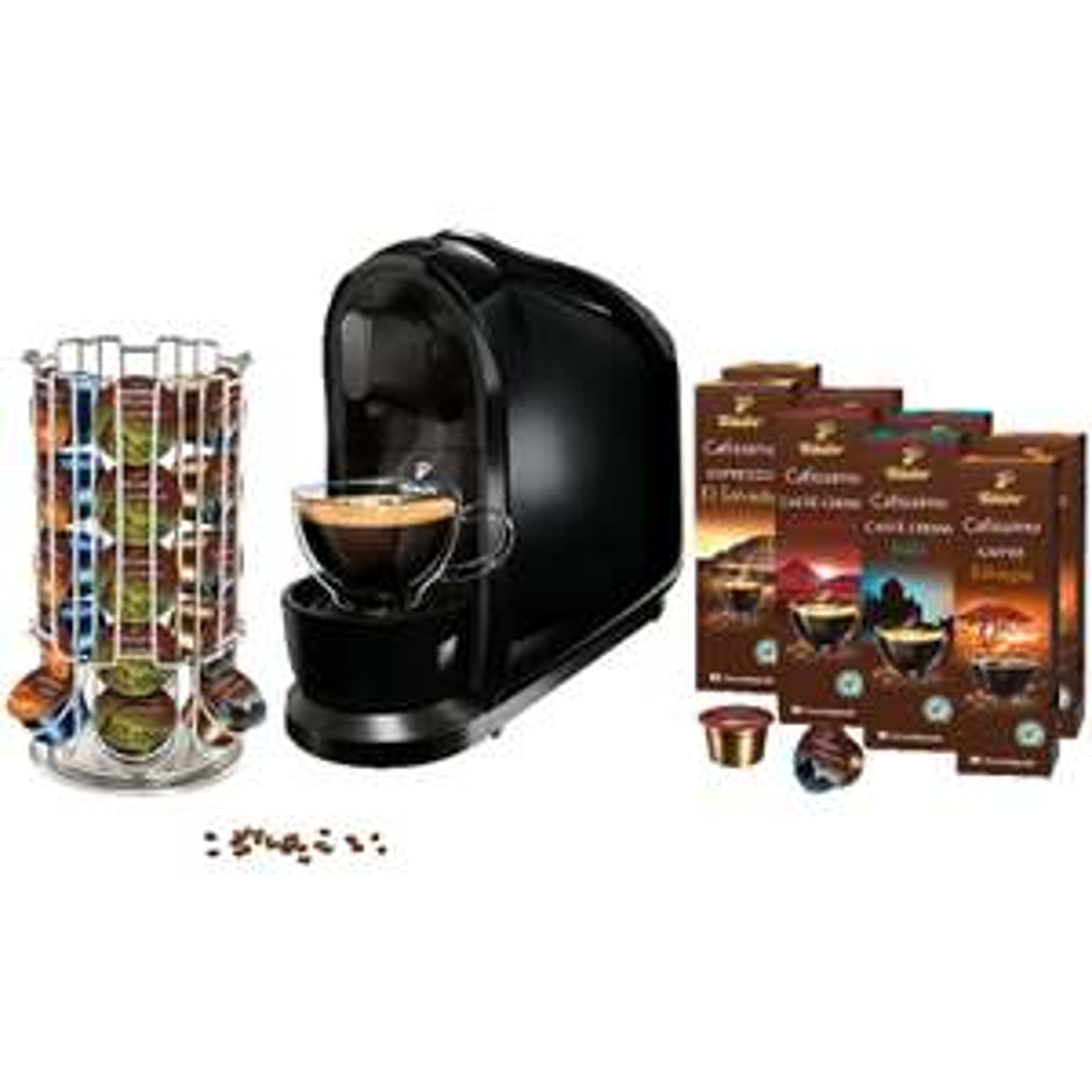[ebay/MM] TCHIBO CAFISSIMO Pure Schwarz inkl. 80 Kapseln und Kapselspender Kapselmaschine