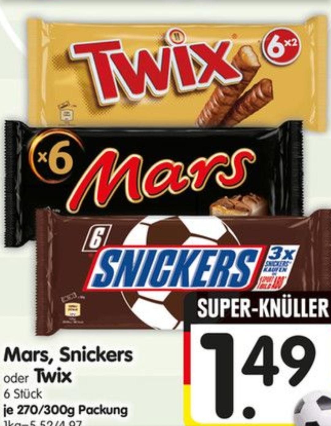 [ Edeka 18.06 bis 23.06.] 3 Packungen Snickers + 5 Ausgaben Sport Bild Print selbstkündigend für 4,47€