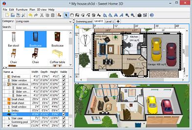 Sweet Home 3D, Hausbauplaner/3D Visuallisierung, Free Version für Win/Mac/Linux (~51MB f.Win) [Stichwort: Haus Häuser Neubau Planer]