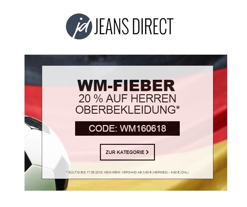 Jeans-Direct WM Spezial: 20% Rabatt auf Herren Oberbekleidung - auch im Sale!