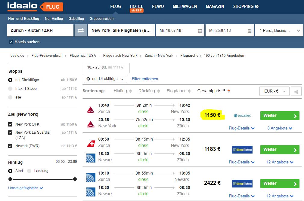 Flüge: USA / Kanada - Hin- und Rückflug von Zürich nach New York, Toronto, ... Business Class ab 1.150€