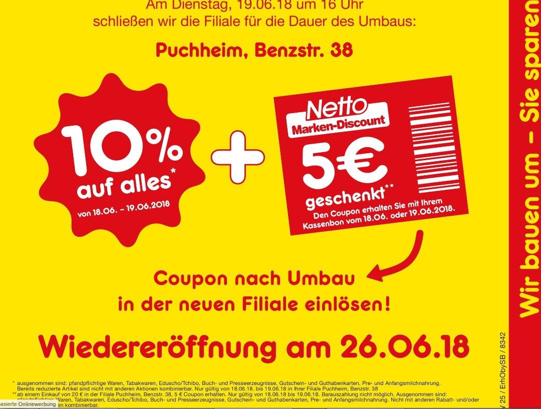 [ lokal Puchheim ] Am 18.06. und 19.06. 5€ Netto Einkaufsgutschein erhalten für einen Einkauf über 20€
