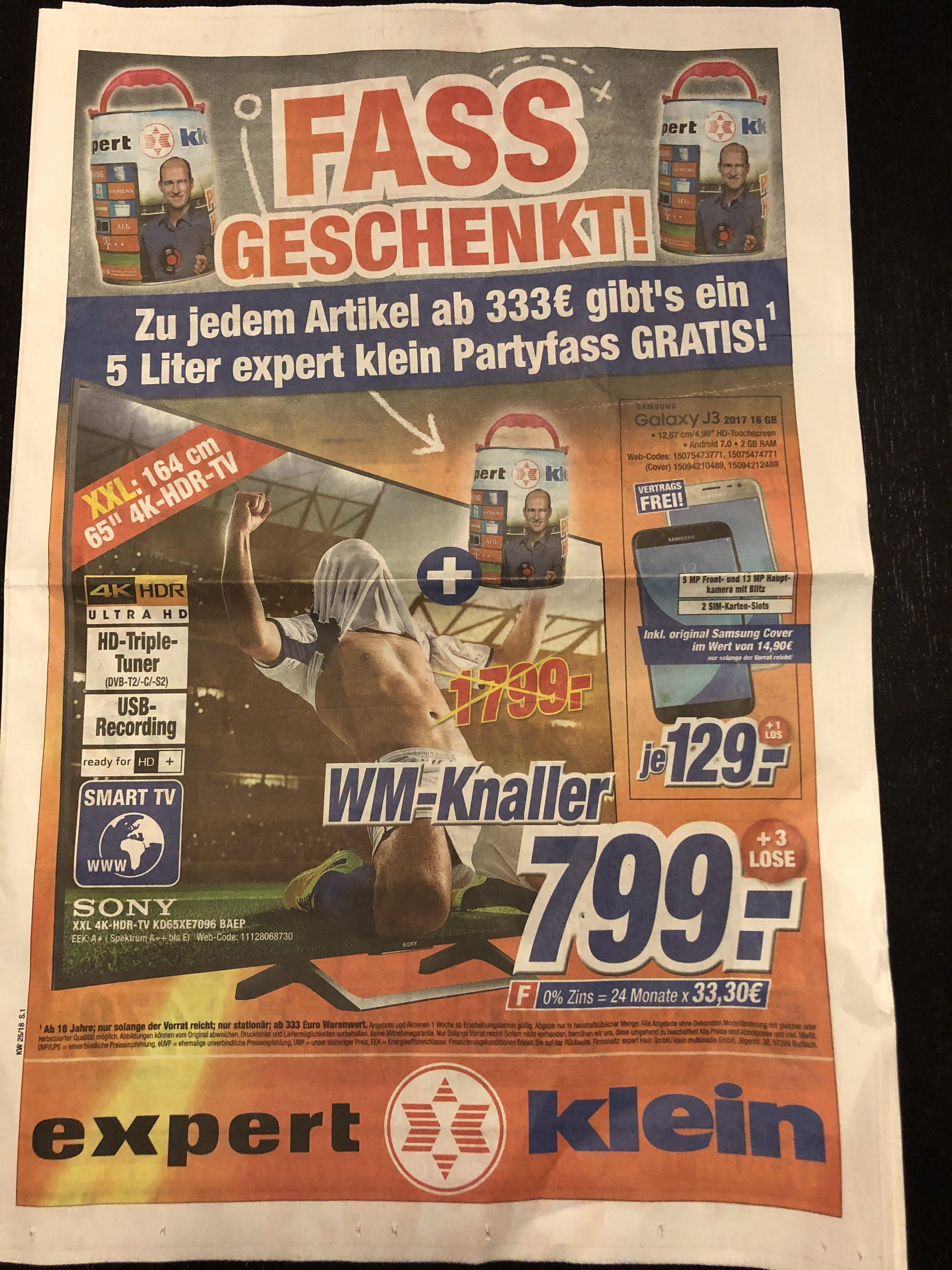 [Expert-Klein] Sony 4K Ultra HD TV KD65XE7096BAEP + 5l Fass Bier