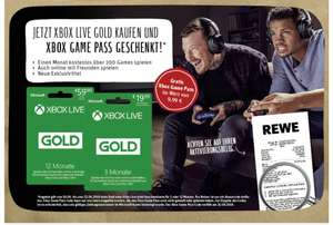 [REWE] 3 oder 12 Monate Xbox Live Gold kaufen und 1 Monat Game Pass gratis