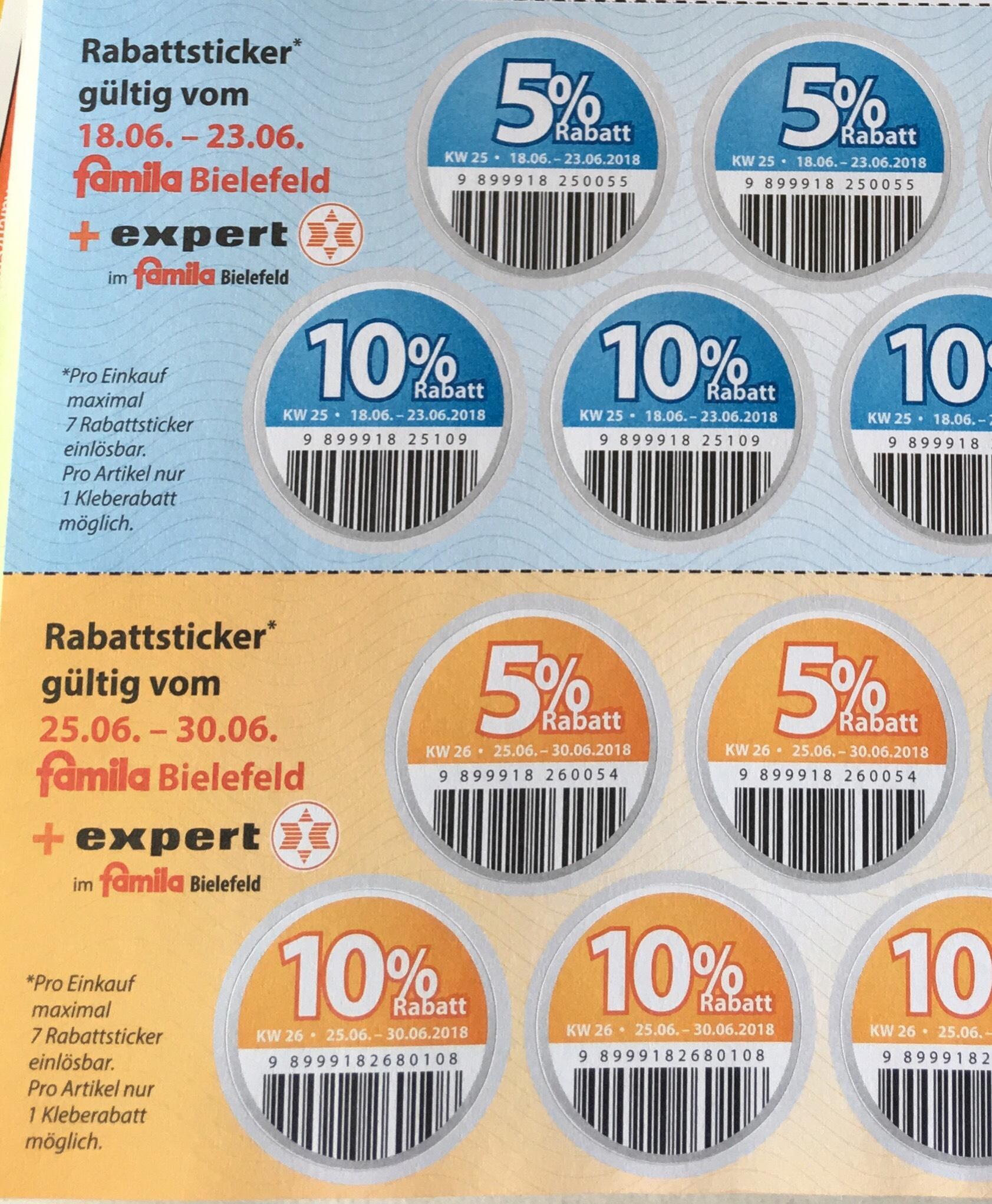 [Lokal Bielefeld] 10% bei famila und expert. Bei expert z.B.: Nintendo Switch, PS4, TV Fernseher...