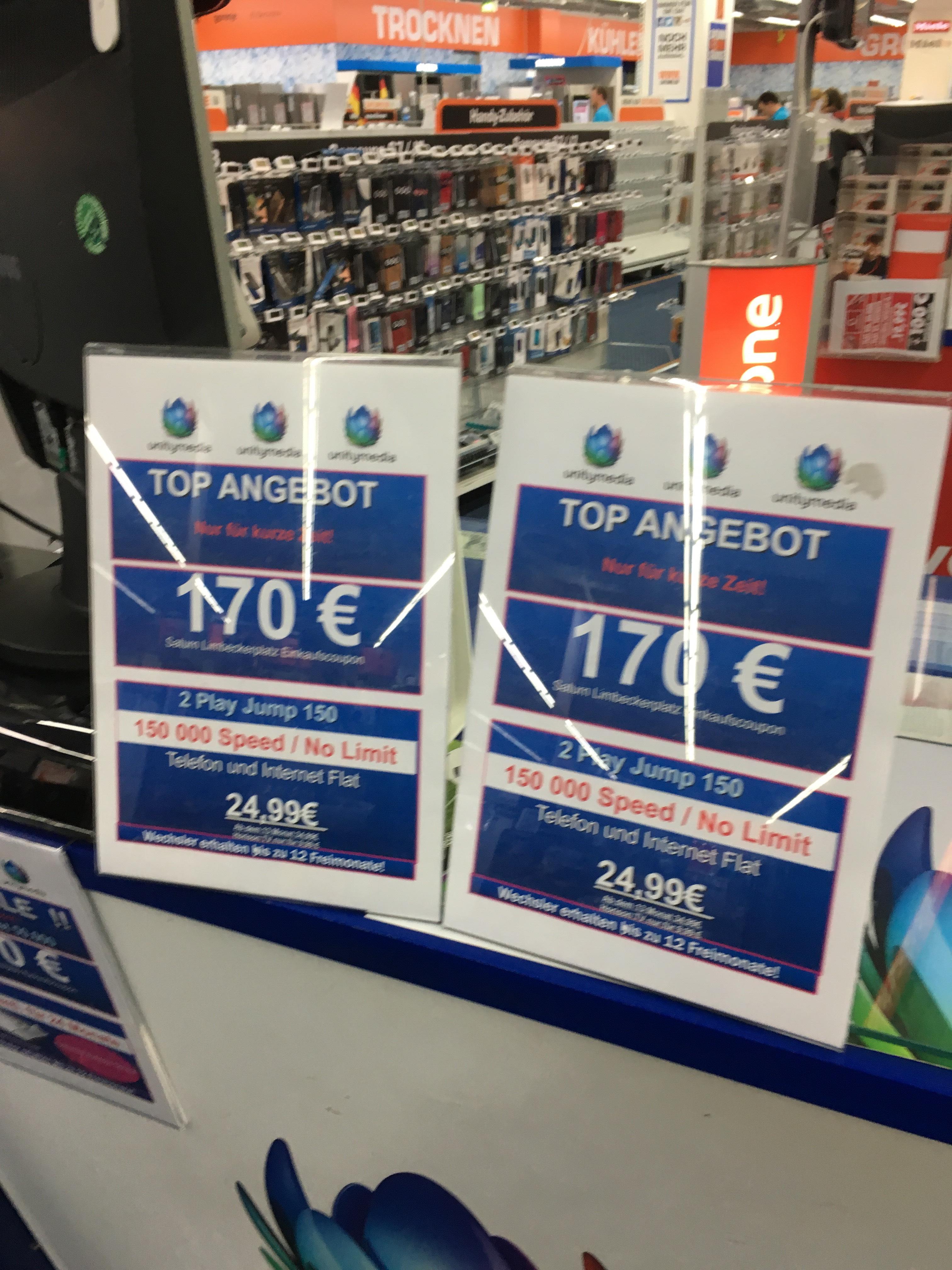 Unitymedia 2Play Jump 150 mit 170€ Einkaufsgutschein bei Saturn in Essen