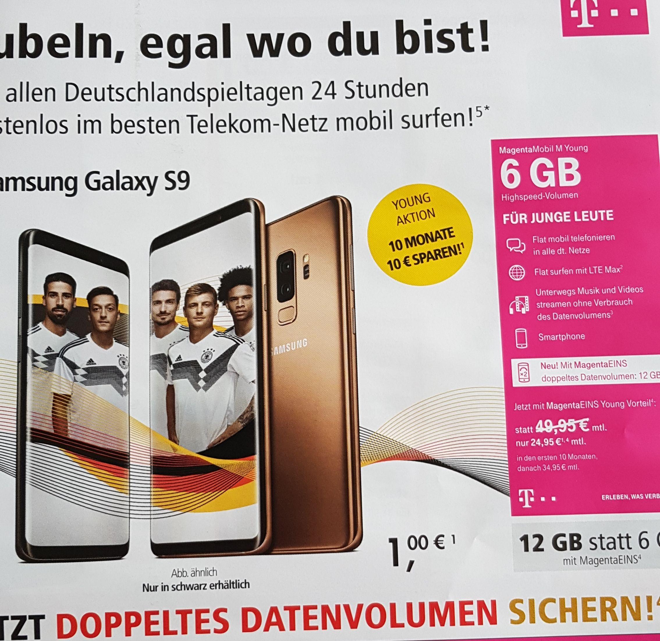 Telekom Shop Samsung Galaxy S9 6 GB LTE Junge Leute Vertrag
