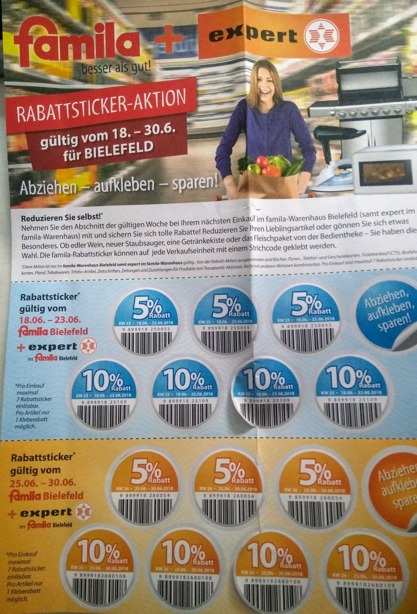 [LOKAL] [Bielefeld Famila+Expert] 5%-10% auf ein Artikel zusätzlich sparen