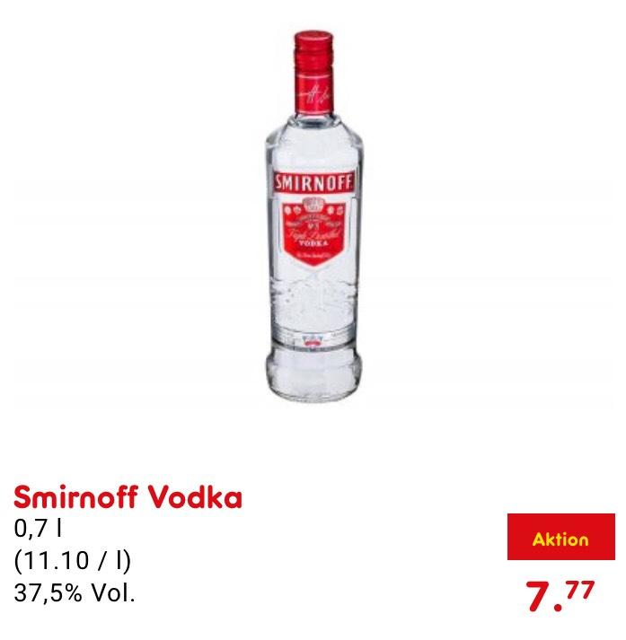 Smirnoff Vodka 0,7l für nur 7,77€ *nur heute*